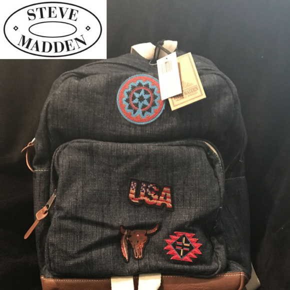 c271a34a91 Steve Madden Bags | Backpack Denim With Patches | Poshmark